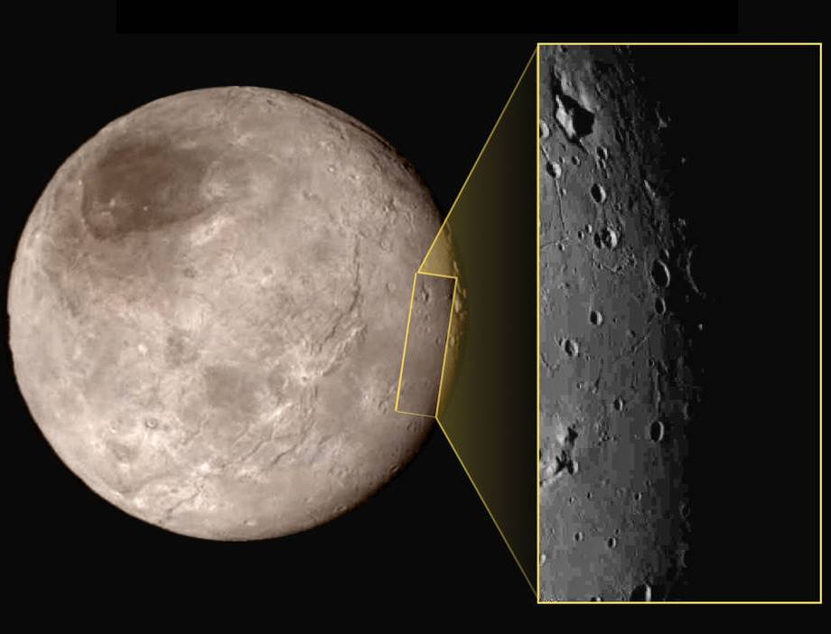 Plutonian moon Charon inset New Horizons NASA image posted on SpaceFlight Insider
