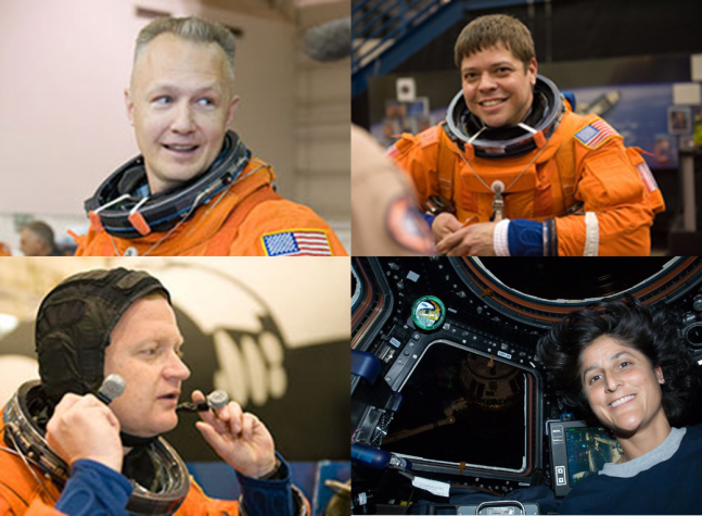 Clockwise from top left: Doug Hurley, Robert Behnken, Sunita Williams, and Eric Boe. These four NASA astronauts have been tapped to be the first astronauts to fly on commercially-produced spacecraft. Photo Credit: NASA