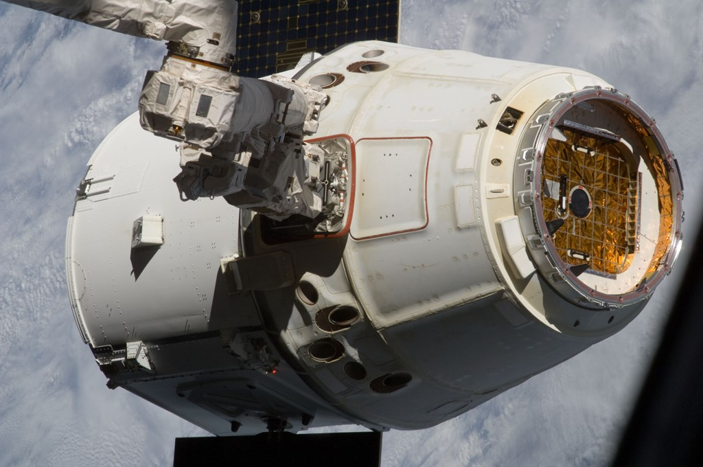SpaceX Falcon 9 v1.1 Commercial Resupply Services Dragon spacecraft at International Space Station Photo Credit Scott Kelly NASA posted on SpaceFlight Insider