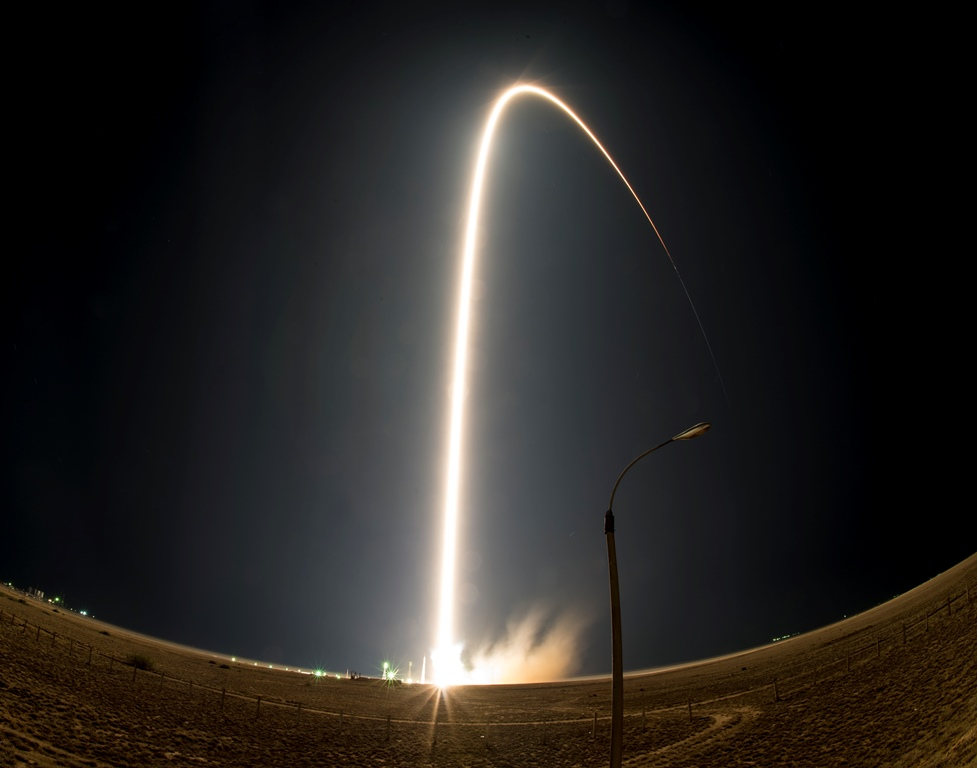 The Soyuz TMA-17M rocket launches from the Baikonur Cosmodrome in Kazakhstan, as seen in this long exposure, on Thursday, July 23, 2015 carrying Expedition 44 Soyuz Commander Oleg Kononenko of the Russian Federal Space Agency (Roscosmos), Flight Engineer Kjell Lindgren of NASA, and Flight Engineer Kimiya Yui of the Japan Aerospace Exploration Agency (JAXA) into orbit to begin their five month mission on the International Space Station. (Photo Credit: NASA/Aubrey Gemignani