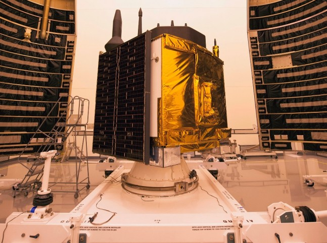 United Launch Alliance GPS IIF 10 satellite in clean room photo credit ULA posted on SpaceFlight Insider
