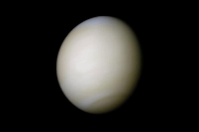 Venus in real colors, processed from clear and blue filtered NASA's Mariner 10 spacecraft images