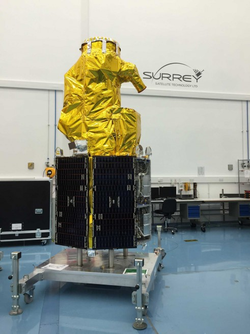 Integration of one of the DMC3 satellites in progress ISRO photo posted on SpaceFlight Insider