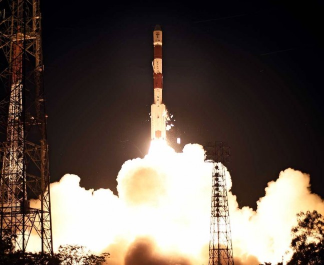 One of the Indian Space Research Organisation's Polar Satellite Launch Vehicle lifts off from the Satish Dhawan Launch Site with the PSLV-C28 mission on July 10, 2015. ISRO photo posted on SpaceFlight Insider