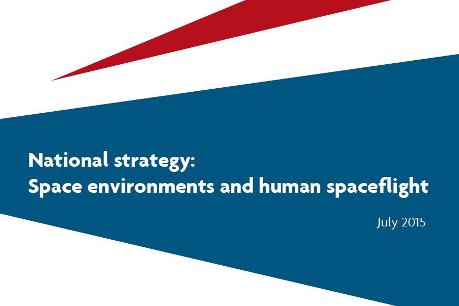 "The front cover of the ""National Strategy: Space Environments and Human Spaceflight""."