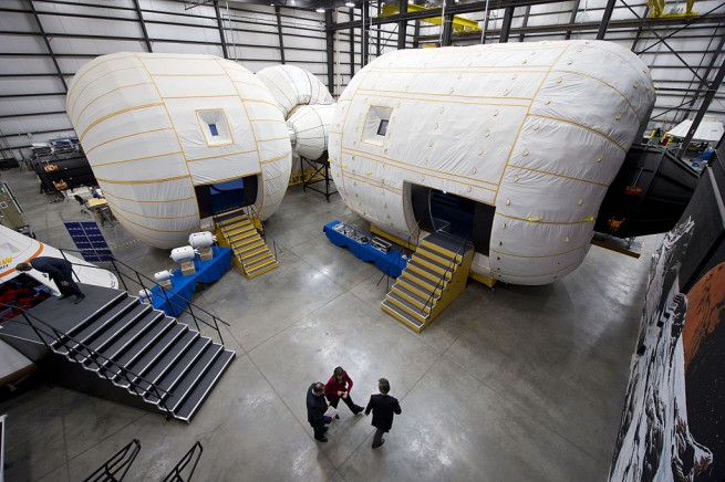 Mockups of Bigelow Aerospace inflatable habitats. Photo Credit Bigelow Aerospace posted on SpaceFlight Insider