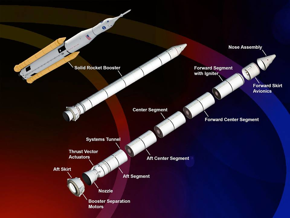 NASA Space Launch System SLS Orbital ATK five segment booster NASA image posted on SpaceFlight Insider