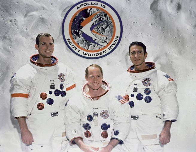 The crew of Apollo 15, from left-to-right: Commander David Scott, Command Module Pilot Alfred Worden and Lunar Module Pilot James Irwin. Image Credit NASA posted on SpaceFlight Insider