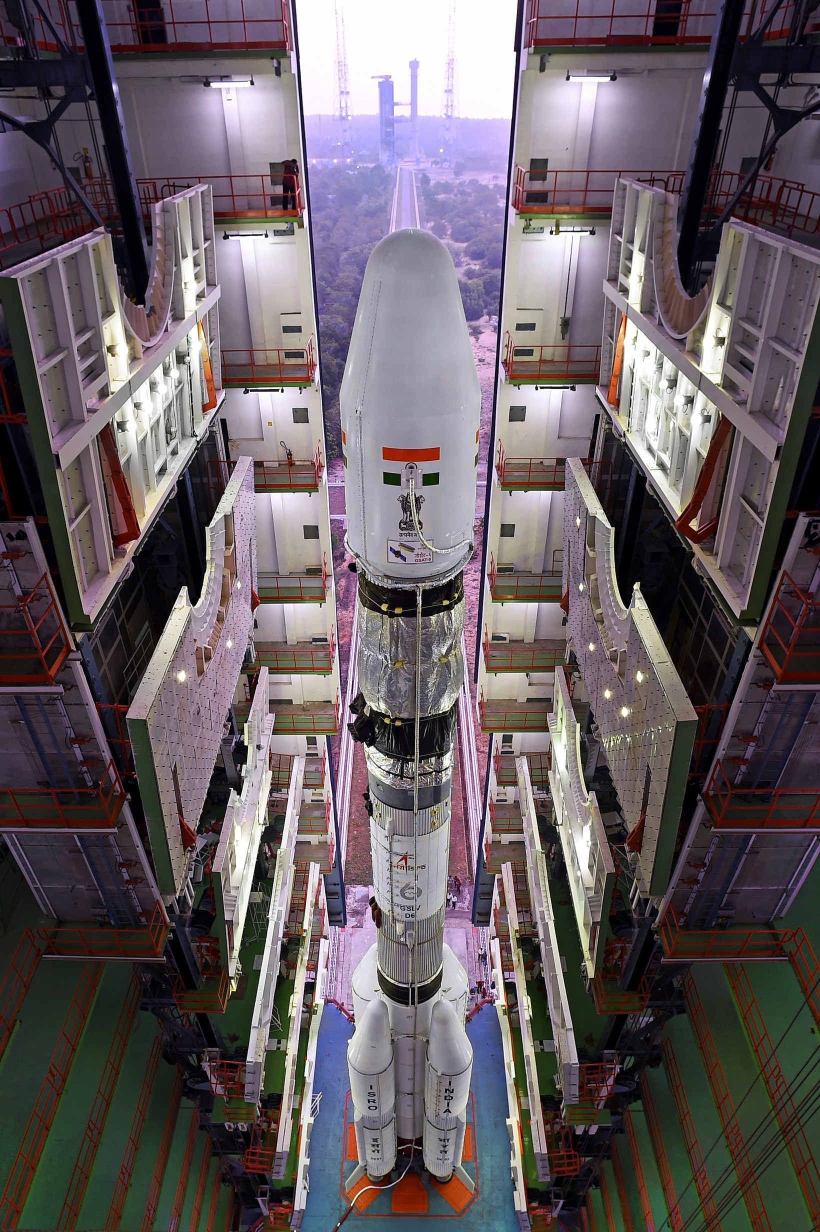 A view of the fully integrated GSLV-D6 from the top of Vehicle Assembly Building.