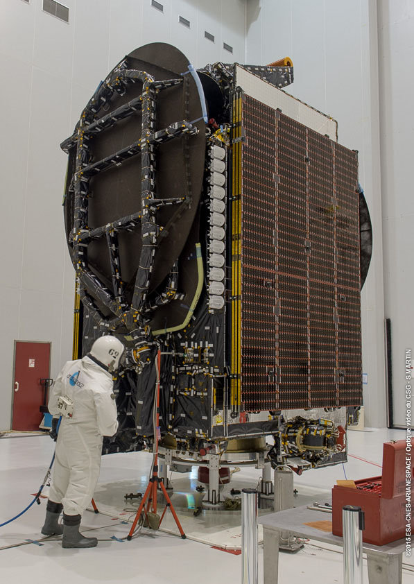 Intelsat 34 satellite being prepared for the Aug. 20 launch