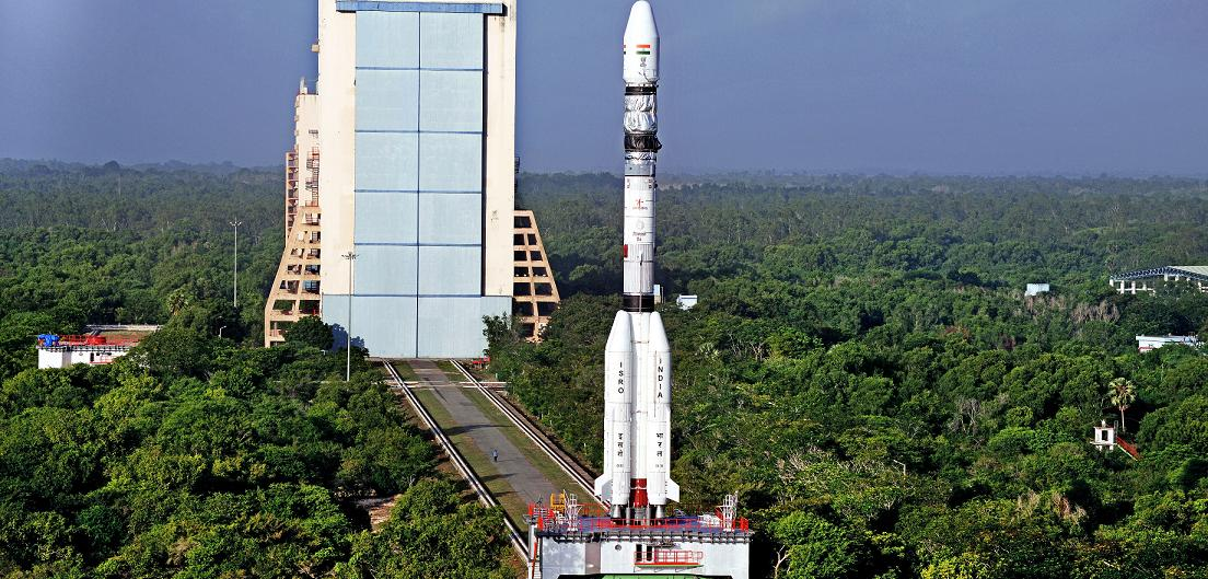 GSLV-D6 being moved from the Vehicle Assembly Building to the Launch Pad at the Satish Dhawan Space Centre in Sriharikota