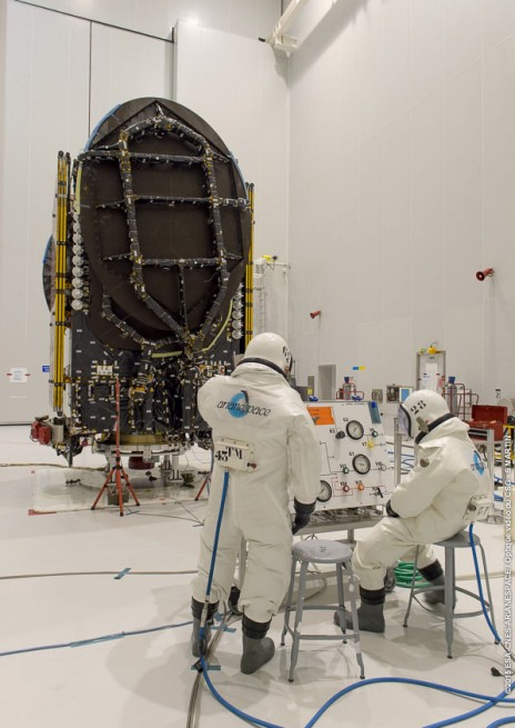 Intelsat 34 satellite in the Spaceport's S5 payload preparation facility