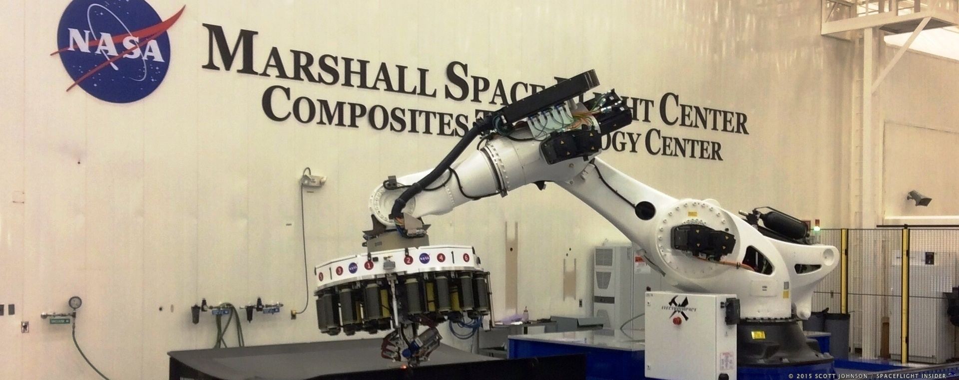 Robotic arm at NASA's Marshall Space Flight Center Composites facility photo credit Scott Johnson SpaceFlight Insider