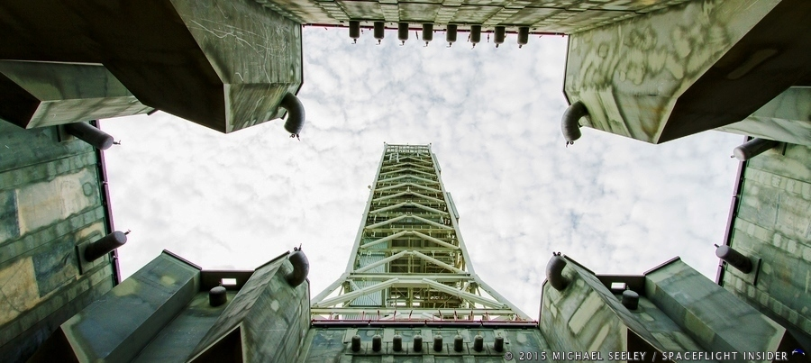 A view of the sky from NASA's Mobile Launcher. Photo Credit: Michael / Seeley