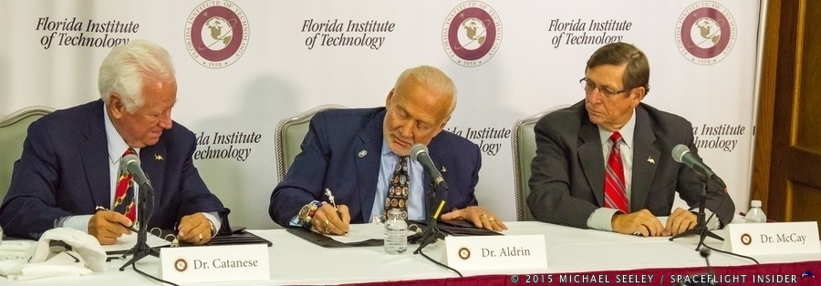The Buzz Aldrin Space Institute at Florida Institute of Technology was formalized Thursday, Aug. 27, at the Melbourne, Fla.-based university. Florida Tech President and Chief Executive Officer Anthony J. Catanese, far left, and Aldrin, the legendary Apollo 11 astronaut, signed the agreement, joined by Florida Tech's Executive Vice President and Chief Operating Officer, T. Dwayne McCay. Photo Credit: Michael Seeley / SpaceFlight Insider