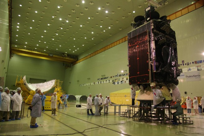 At the Baikonur cosmodrome the international team including engineers and technicians from Khrunichev, the Yuzhny Space Center, Boeing and ILS begins integration of the Ascent Unit (Inmarsat 5F3/adapter/Briz-M/PLF stack).