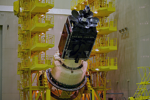 The Inmarsat-5 F3 satellite being prepared for its integration onto the launch vehicle. Photo Credit: ILS
