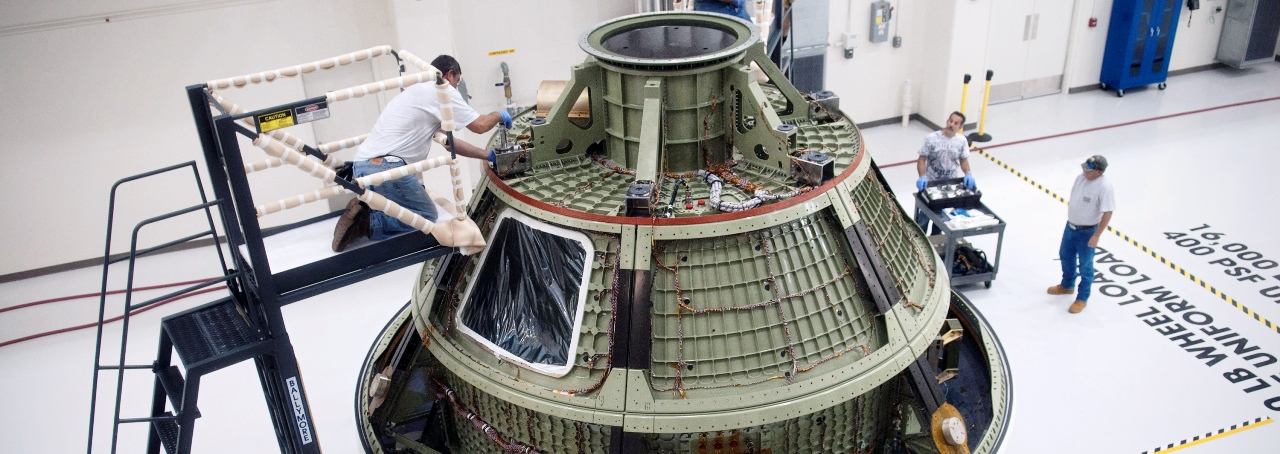 NASA Orion spacecraft Lockheed Martin being readied for Exploration Flight Test 1 NASA photo posted on SpaceFlight Insider