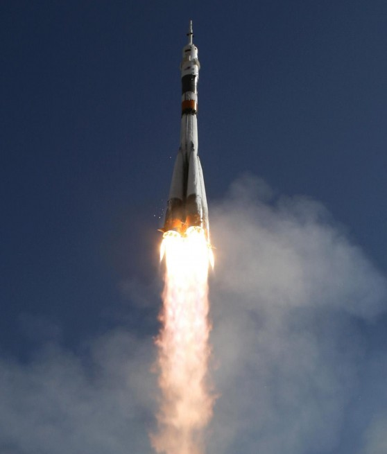 A Soyuz rocket lifts off from the Baikonur Cosmodrone in Kazakhstan NASA photo posted on SpaceFlight Insider - Copy