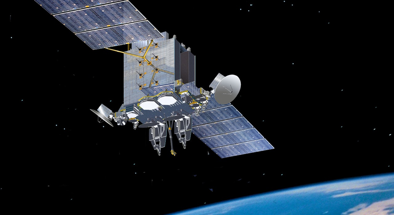 Advanced Extreme High Frequency AEHF satellite on orbit above Earth Lockheed Martin image posted on SpaceFlight Insider