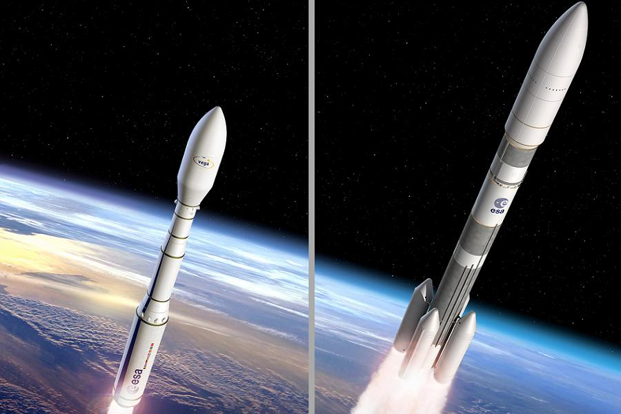 Vega C (left) and Ariane 6 (right) artist's views.