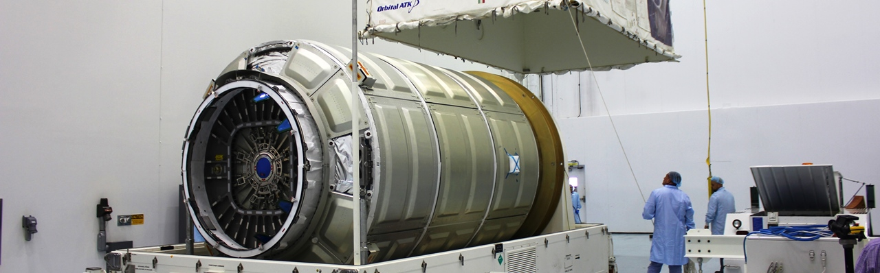 The Pressurized Cargo Module (PCM) for the first Atlas V flight of Cygnus was recently delivered to NASA's Kennedy Space Center in Florida. Photo Credit: Orbital ATK