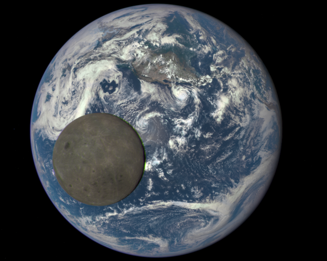 This image shows the far side of the moon, illuminated by the sun, as it crosses between the DSCOVR spacecraft's Earth Polychromatic Imaging Camera (EPIC) camera and telescope, and the Earth - one million miles away. Image Credit: NASA / NOAA