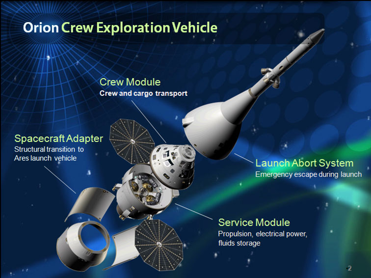 2009 exploded view of Lockheed Martin Orion spacecraft NASA image posted on SpaceFlight Insider