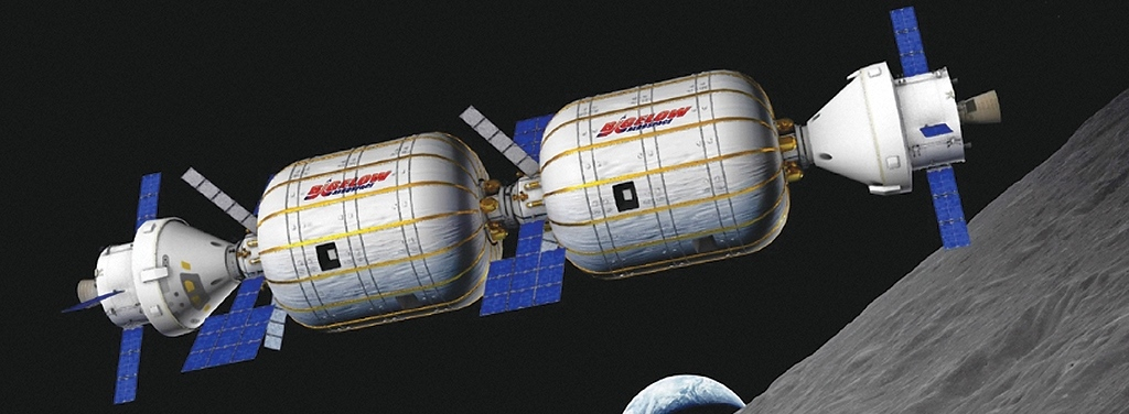 Artist's depiction of Bigelow Aerospace B330 inflatable habitat in orbit above the Moon. Image Credit Bigelow Aerospace posted on SpaceFlight Insider