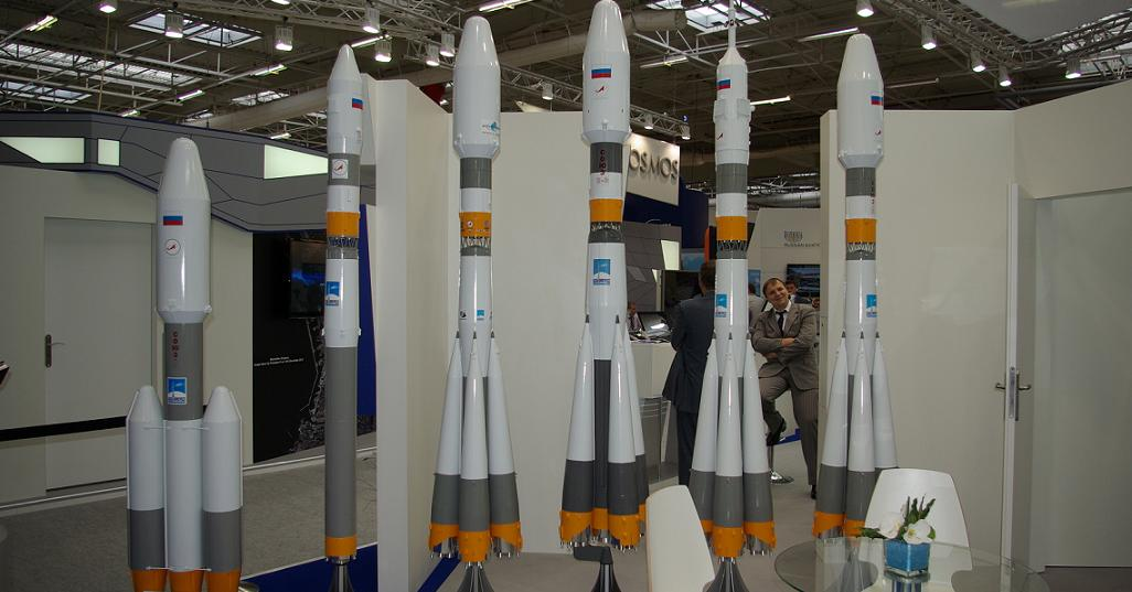The Soyuz-5 rocket family scale models on display at the Paris Air and Space Show in Le Bourget, France in June 2013