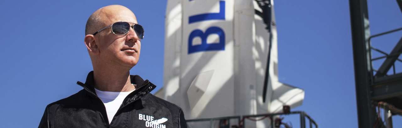 Blue Origin founder Jeff Bezos at the launch pad with New Shepard rocket Blue Origin photo posted on SpaceFlight Insider