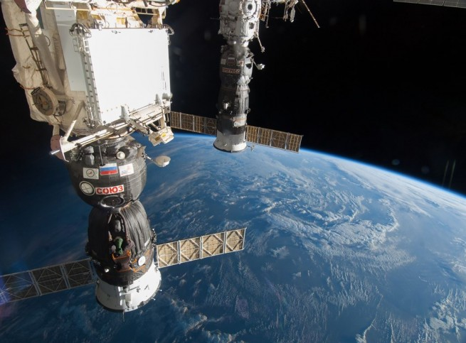 Soyuz and Progress spacecraft docked to the International Space Station NASA photo posted on SpaceFlight Insider