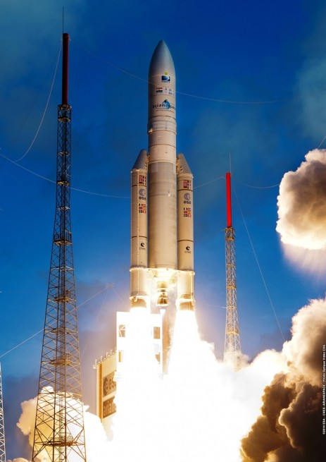 Archive photo of Ariane 5 launch vehicle lifting off from Kourou, French Guiana. Photo Credit: Arianespace