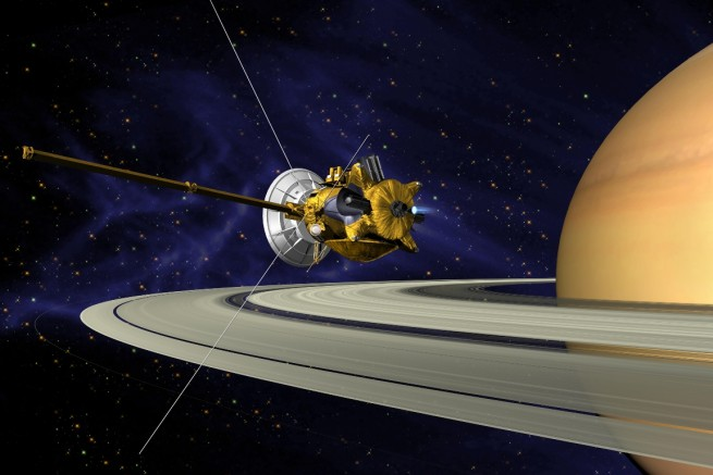 The Cassini spacecraft in orbit above the gas giant Saturn NASA JPL image posted on SpaceFlight Insider