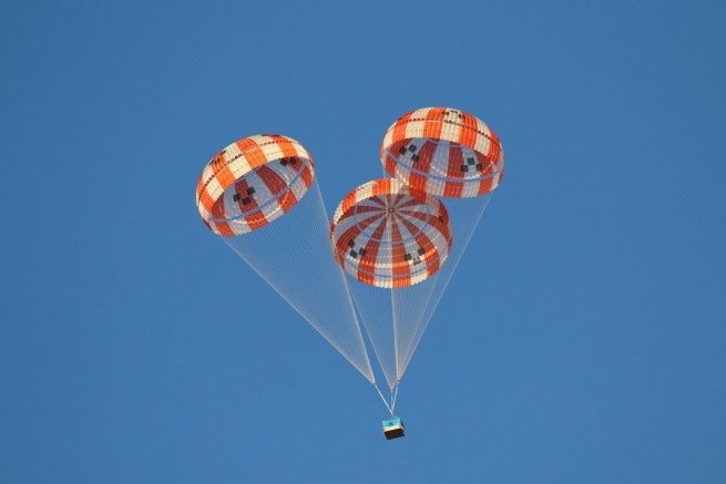 CPAS Subscale Testing Week 1 02-06-2015Test 14 Orion parachute test NASA image posted on SpaceFlight Insider
