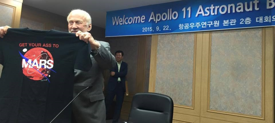 "Buzz Aldrin presents ""Get Your Ass to Mars"" T-shirt during his visit to South Korea."