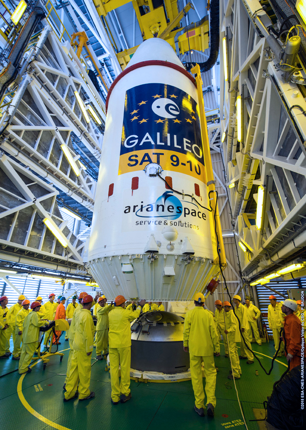 European Galileo navigation satellites 9 & 10 payload fairing integration photo credit Arianespace posted on SpaceFlight Insider