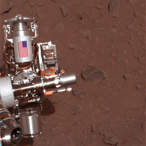 Mars Exploration Rover Opportunity cable shield U.S. flag NASA JPL-Caltech MSSS photo posted on SpaceFlight Insider