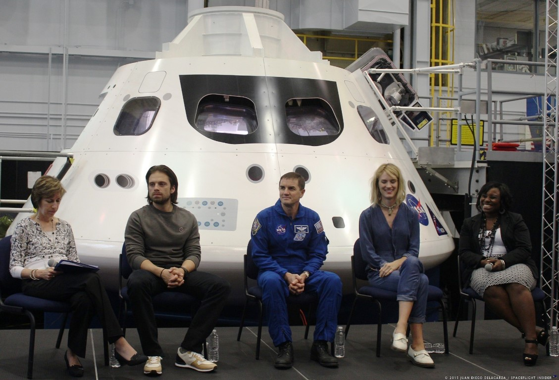 Left to right Mackenzie Davis, Sebastian Stan, Ellen Ochoa and NASA officials photo credit Juan Diego Delagarza / SpaceFlight Insider