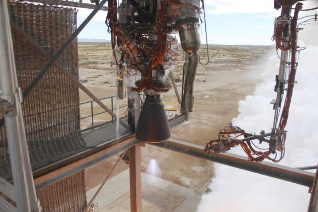 Blue Origin BE-3 test firing Blue Origin photo posted on SpaceFlight Insider