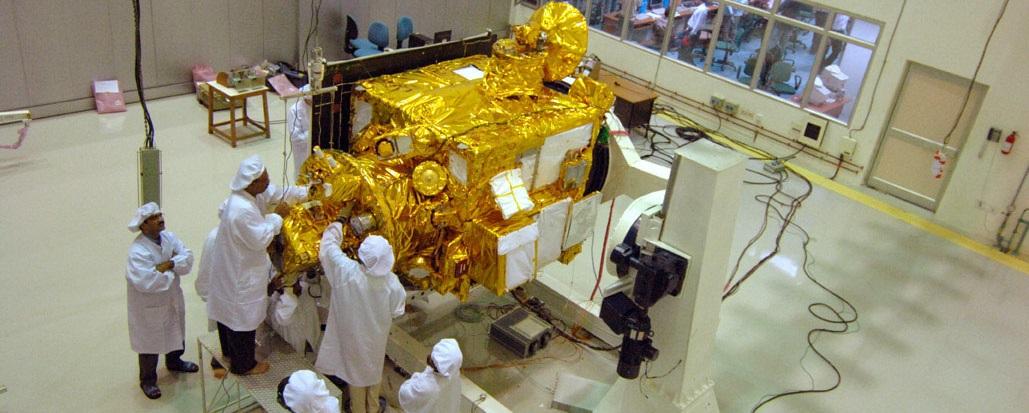 India's Chandrayaan-1 spacecraft undergoing pre-launch tests in October 2008.