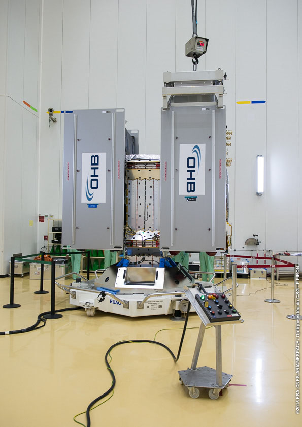 Europe's ninth and tenth Galileo satellites attached to the dispenser that will first secure them during their flight to medium-altitude orbit and then release them into space.