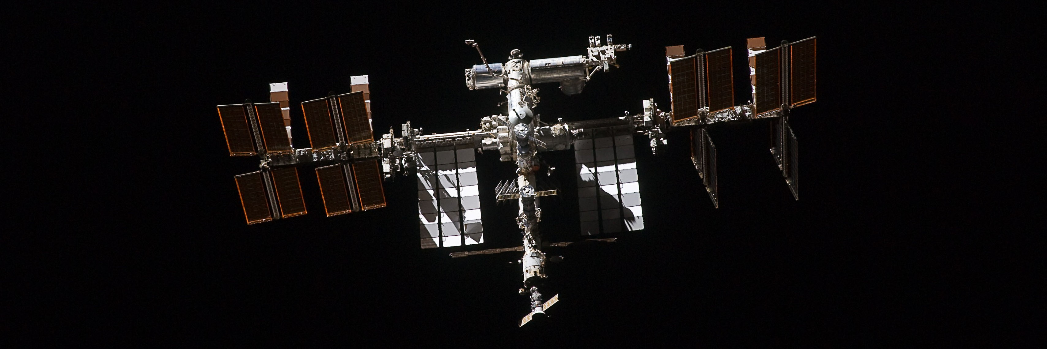 The International Space Station as seen by a departing space shuttle in 2011. Photo Credit: NASA