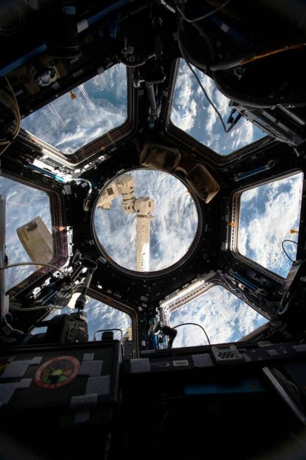 International Space Station ISS Cupola segment in orbit above Earth NASA image posted on SpaceFlight Insider