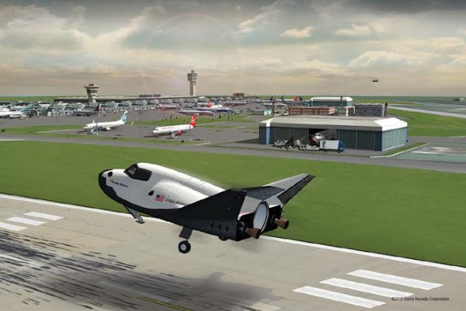 Sierra Nevada Corporation Dream Chaser space shuttle landing on runway SNC image posted on SpaceFlight Insider