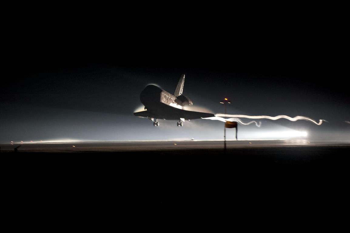 Space Shuttle Atlantis lands after completing STS-135 at Kennedy Space Center Shuttle Landing Facility SLF NASA photo posted on SpaceFlight Insider