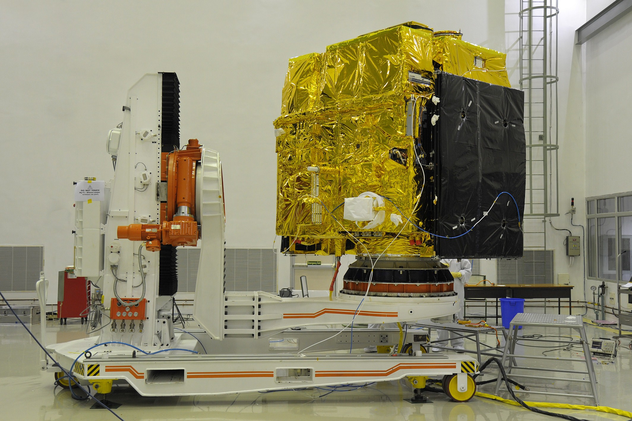 Astrosat during a pre-launch test in a clean room.