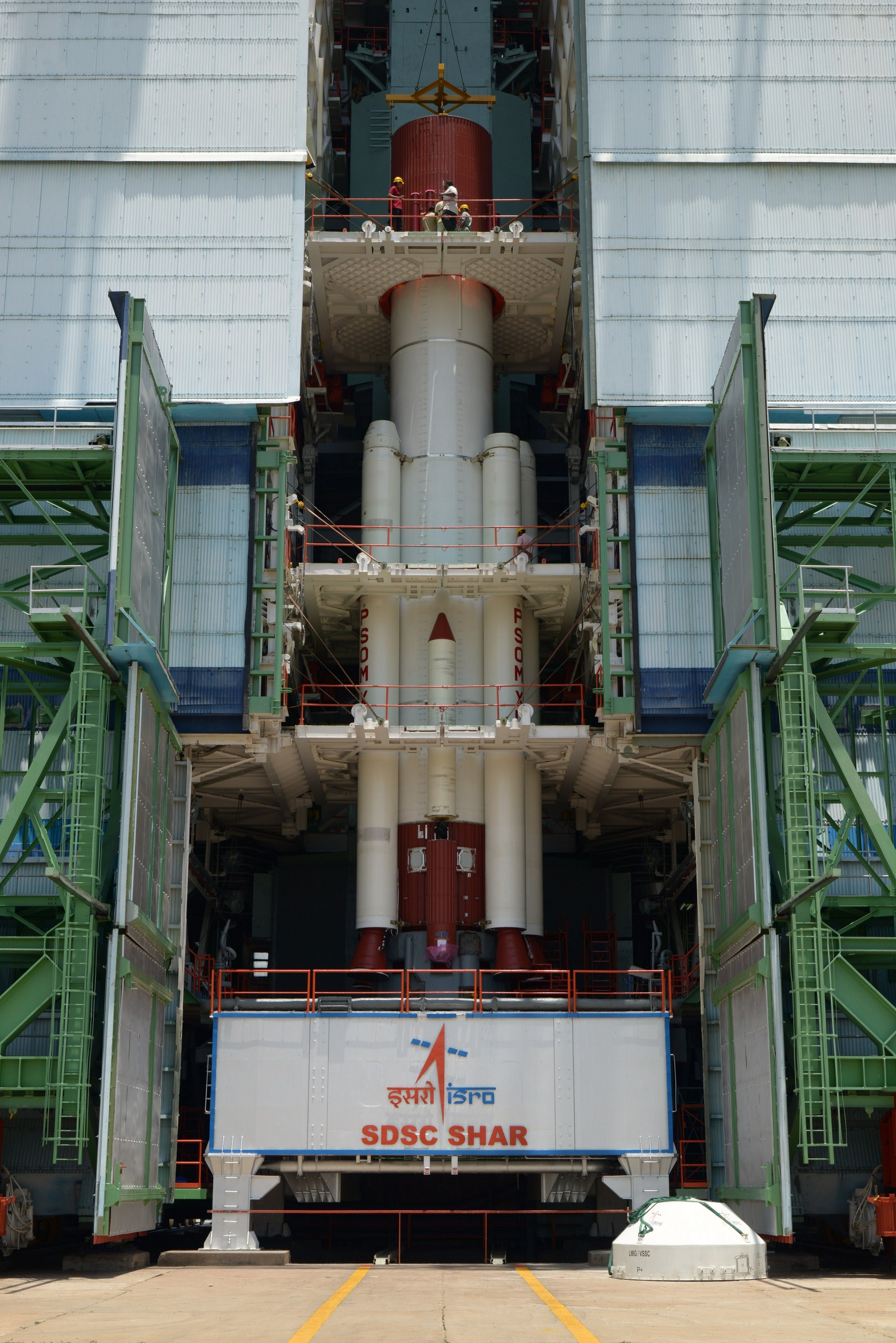 Fully integrated PSLV-C30 core stage with strap-ons at the mobile service tower.
