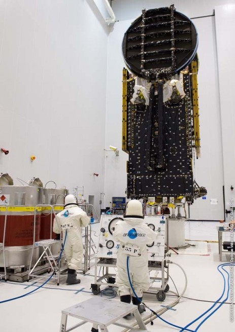 Engineers work on the Sky Munster satellite. Photo Credit: ESA / CNES / Arianespace