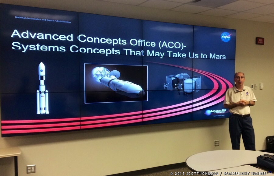 Les Johnson of the MSFC Advanced Concepts Office speaks on Mars system concepts in the Advanced Concepts collaboration room. Photo Credit: Scott Johnson / SpaceFlight Insider